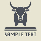 Bull icon or sign, vector illustration