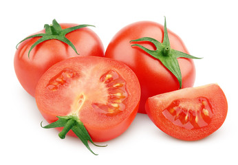 Sliced red tomato vegetable isolated on white with clipping path