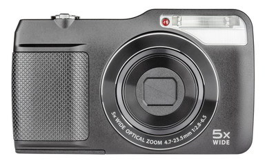 Digital compact camera closed lens on white with clipping path
