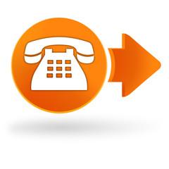 téléphone sur symbole web orange