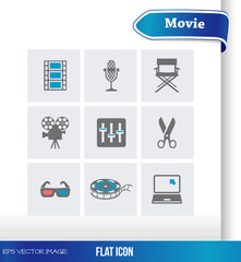 eps Vector image:Flat icon Movie