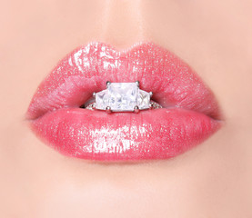 Sexy Lips with Diamond Ring. Beauty Pink Lip Gloss. Mouth