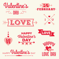 hipster valentines day messages and typographic banners