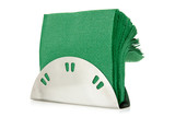 Table napkin holder with green napkins