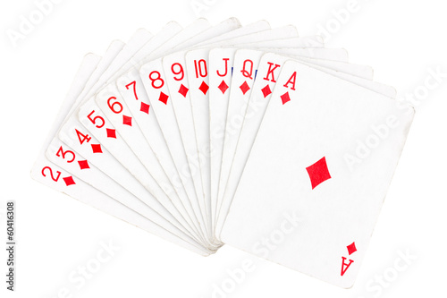 Set of diamond playing cards
