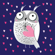 Greeting card with love owl