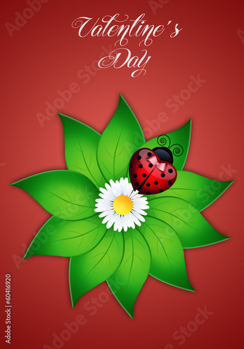 ladybug with heart for Valentine's Day