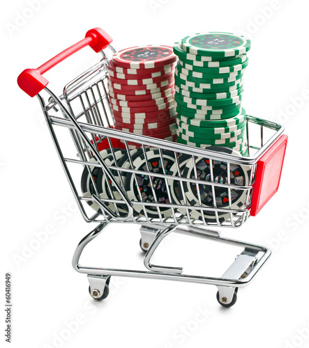 poker chips in shopping cart