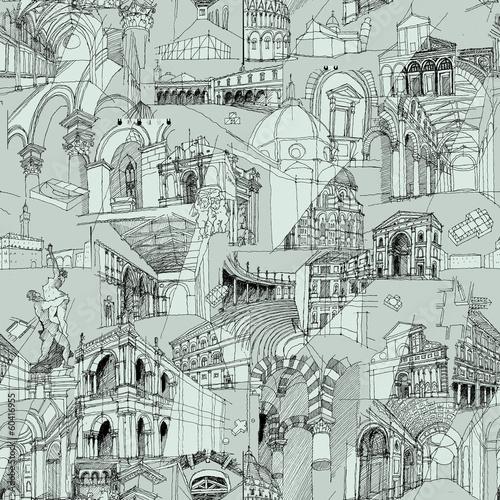 Historic Italian Architecture Collage seamless pattern - 60416955