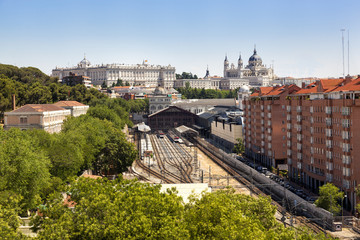 Madrid view, with Prince Pio station, Royal palace and the Almud
