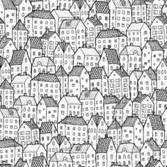 City seamless pattern in balck and white