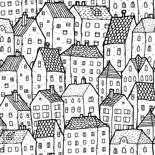 City seamless pattern in balck and white © ivook
