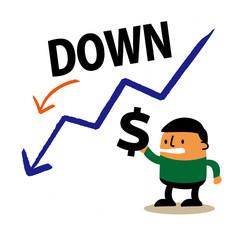 下降グラフ ドル