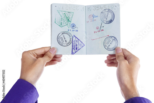 Hand showing a passport