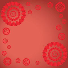Patterns on red background.