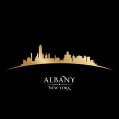 Albany New York city silhouette black background