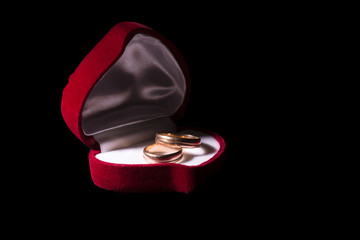 wedding rings in a box in the shape of heart