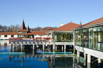 Heviz thermal lake and swimming pool spa resort in Hungary
