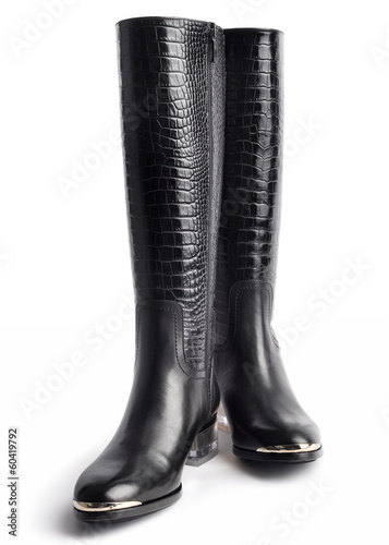 Pair of stylish women's leather boots