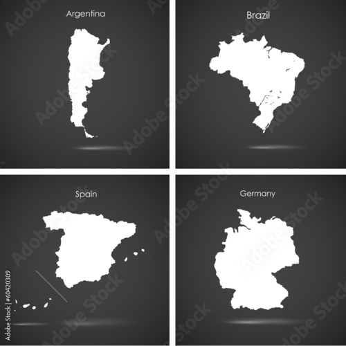 Set of silhouette countries over blue background