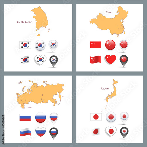 Set of flag designs over white background.