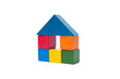 old children's building blocks isolated on white