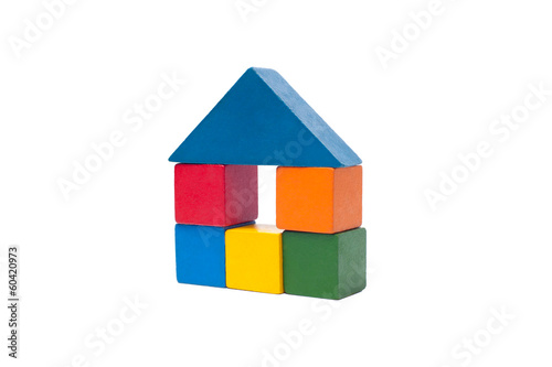 old children's building blocks isolated on white