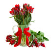spring red tulip flowers in vase