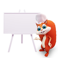 Chef Squirrel with a big white sign