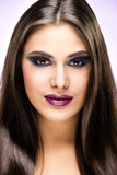 Beautiful Brunette Girl with luxury makeup