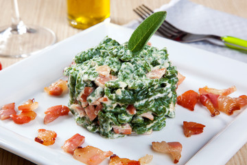 spatzle with spinach and speck - bacon -