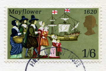 British Postage Stamp Commemorating the Pilgrim Father's Voyage