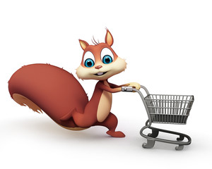 Squirrel white shopping trolley