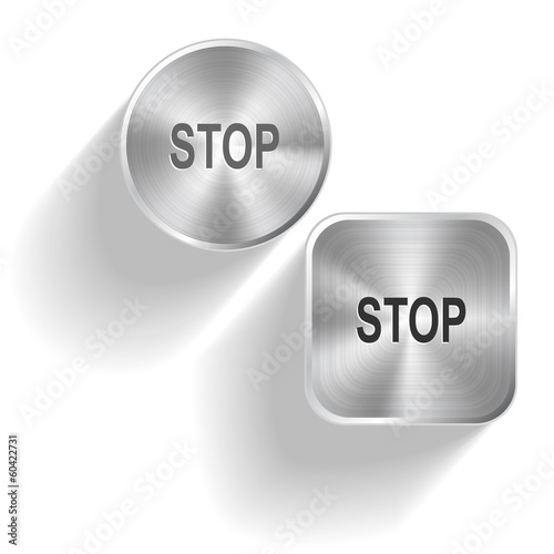Stop. Vector set steel buttons