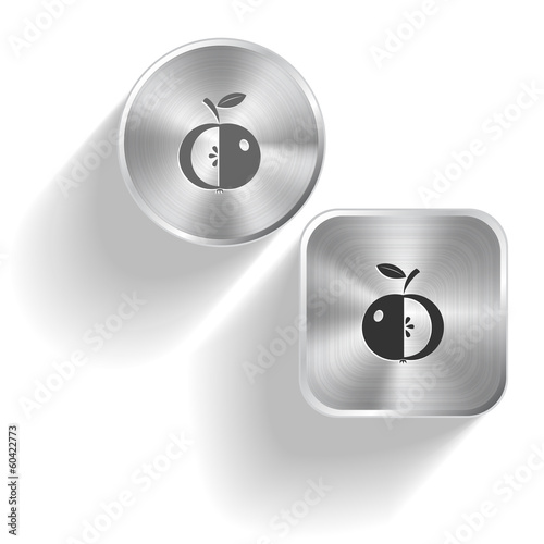 Apple. Vector set steel buttons