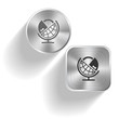 Globe and lock. Vector set steel buttons