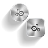 Gears. Vector set steel buttons