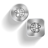 Globe and gear. Vector set steel buttons