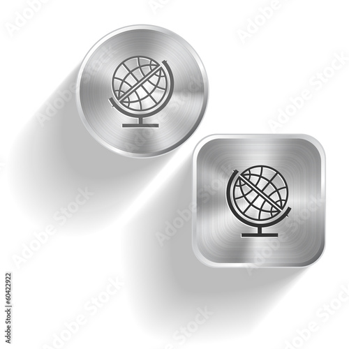 Globe. Vector set steel buttons