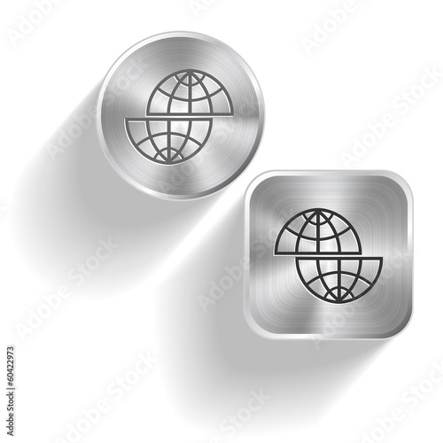 Shift globe. Vector set steel buttons