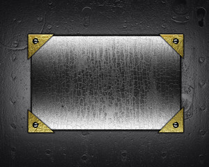 Grunge metal plate with a metal background