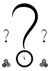 query mark and clock