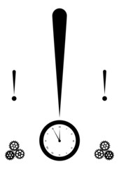 exclamation mark and clock