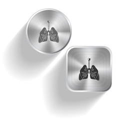 Lungs. Vector set steel buttons