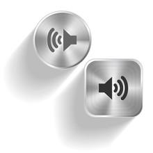 Speaker. Conjunto de vectores botones de acero