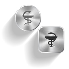 Pharma symbol. Vector set steel buttons