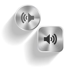 Speaker. Vector set steel buttons
