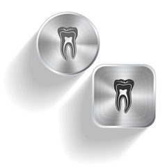 Tooth. Vector set steel buttons
