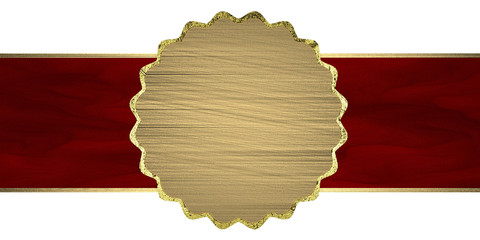 red texture stripe layout with gold circle. Design element