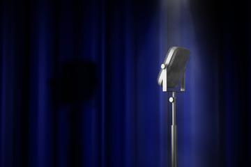 Mikrofon Bühne Spot Vorhang